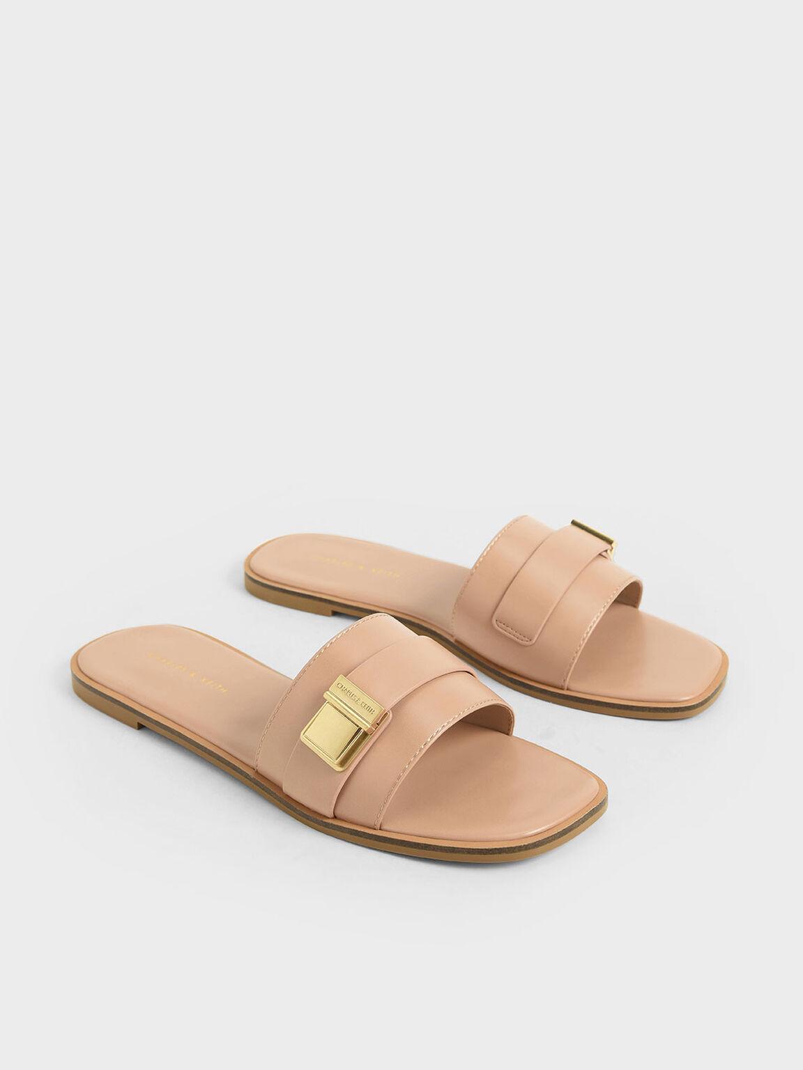 Buckle Detail Slide Sandals, Nude, hi-res
