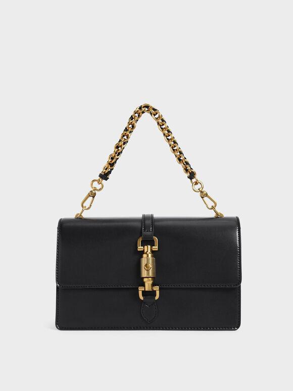 Single Chain Handle Shoulder Bag, Black, hi-res