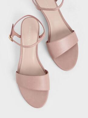 Asymmetric Wedge Sandals, Pink, hi-res