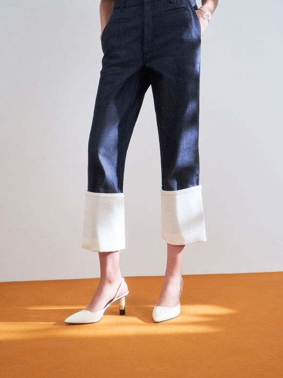 Cylindrical Heel Slingback Pumps, Chalk, hi-res