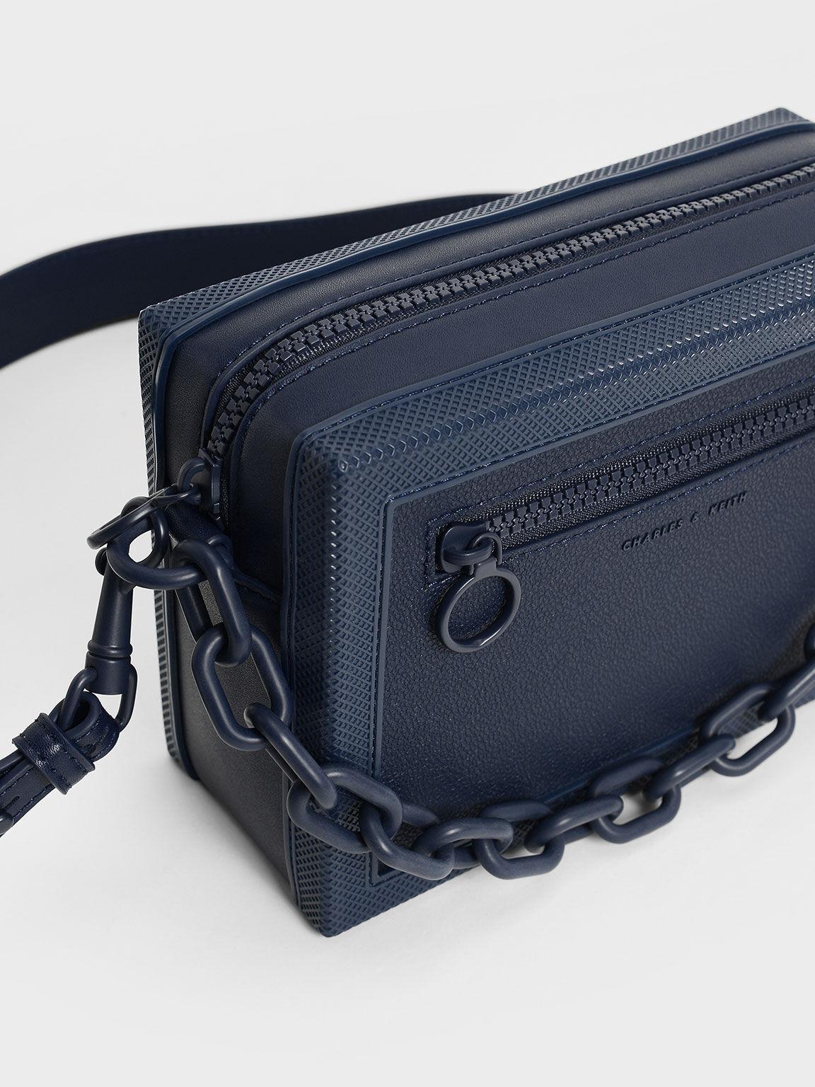 Chain Link Crossbody Bag, Navy, hi-res