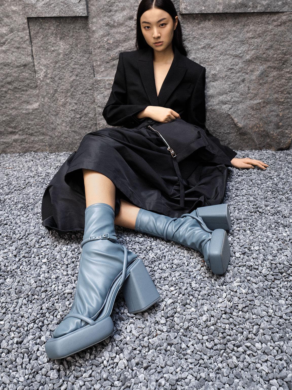 Lucile Platform Calf Boots, Blue, hi-res