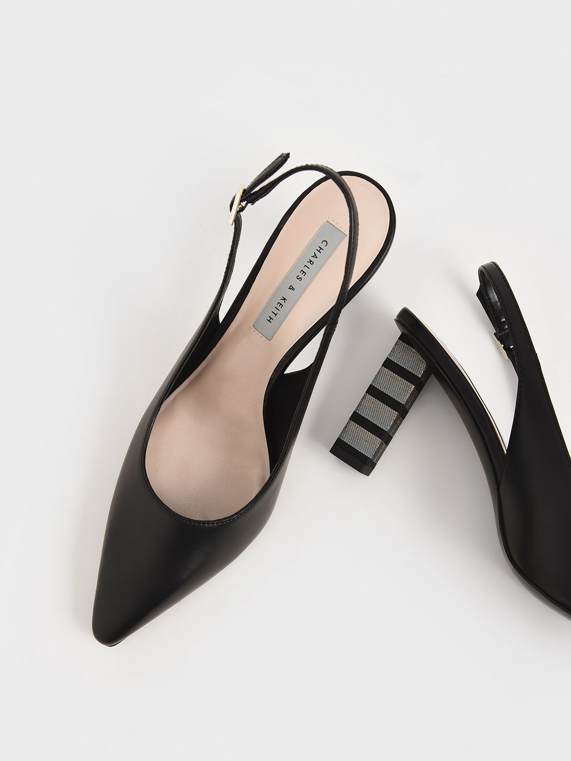 Slingback Block Heel Pumps, Black, hi-res