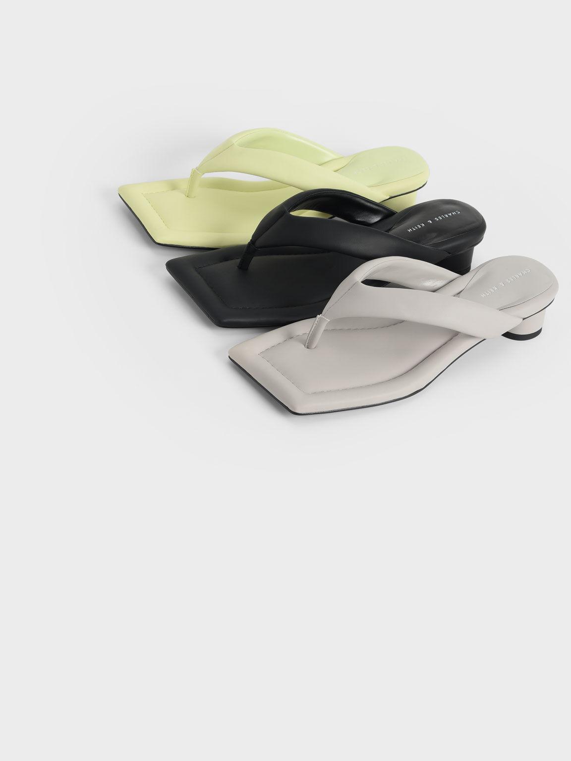 Padded Thong Sandals, Grey, hi-res