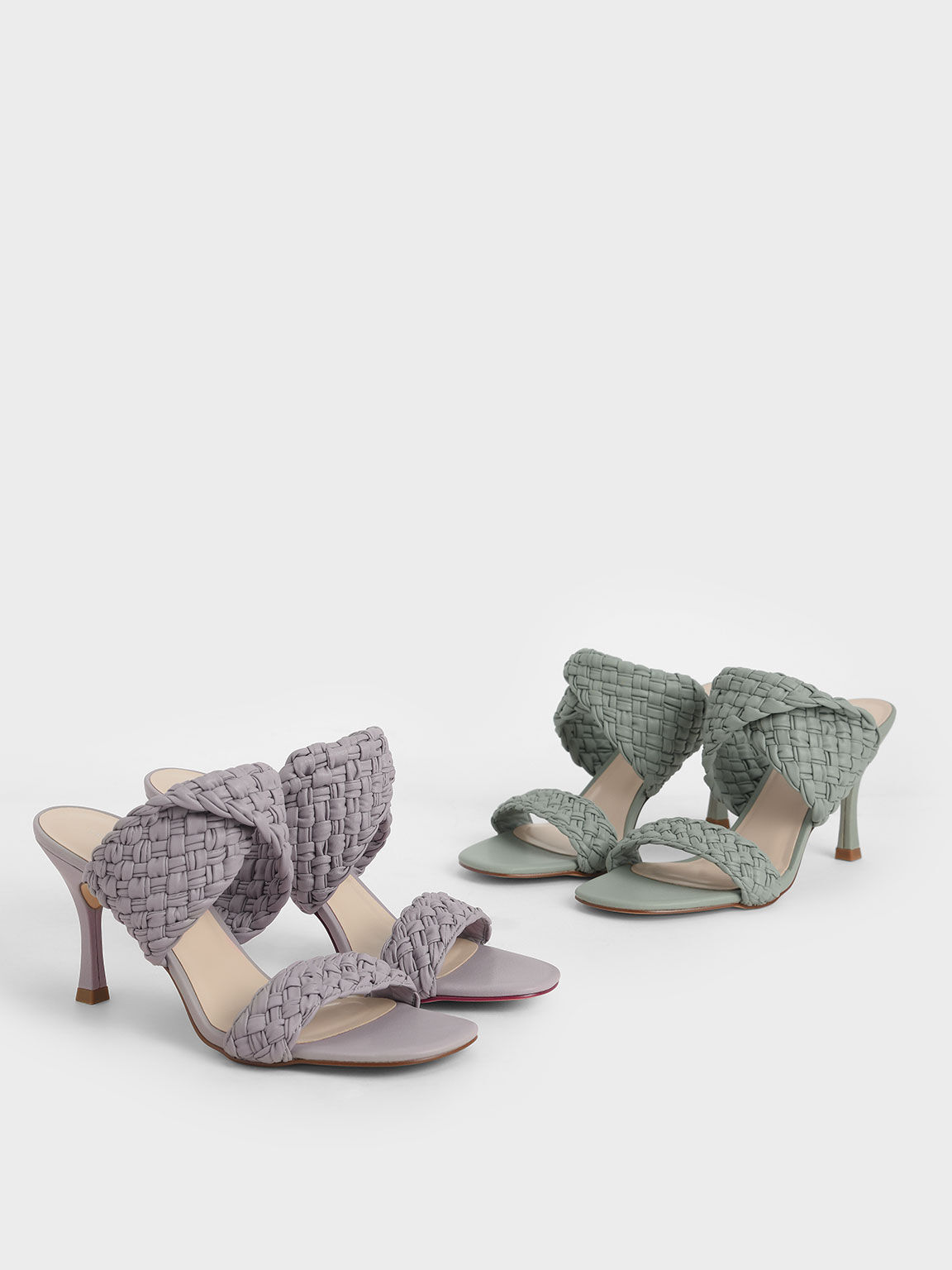 Double Strap Woven Heeled Mules, Sage Green, hi-res