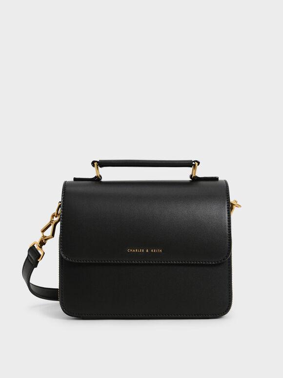 Front Flap Top Handle Crossbody Bag, Black, hi-res