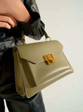 Stone-Embellished Geometric Bag, Khaki, hi-res