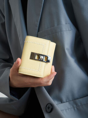 Stitch Trim Turn Lock Wallet, Butter, hi-res