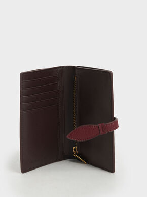 Snap Button Fold Wallet, Burgundy, hi-res