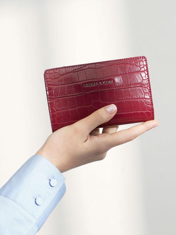 Croc-Effect Snap Button Wallet, Berry, hi-res