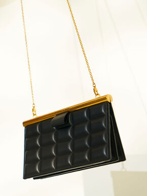 Quilted Clasp Clutch, Black, hi-res