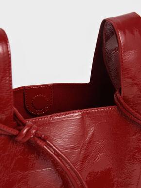Patent Square Handle Tote Bag, Red, hi-res