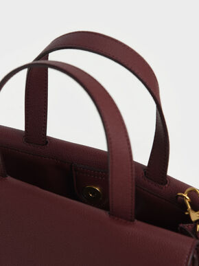 Metallic Accent Tote Bag, Burgundy, hi-res