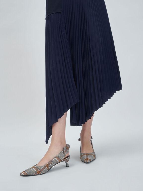 Check Print Fabric Bow Slingback Pumps, Grey, hi-res