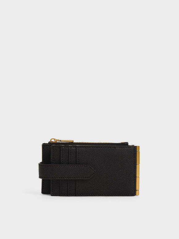 Zip & Snap Button Card Holder, Black, hi-res