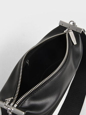 Zip Shoulder Bag, Black, hi-res