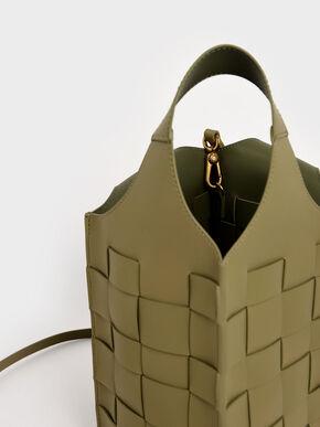 Woven Single Handle Bucket Bag, Sage Green, hi-res