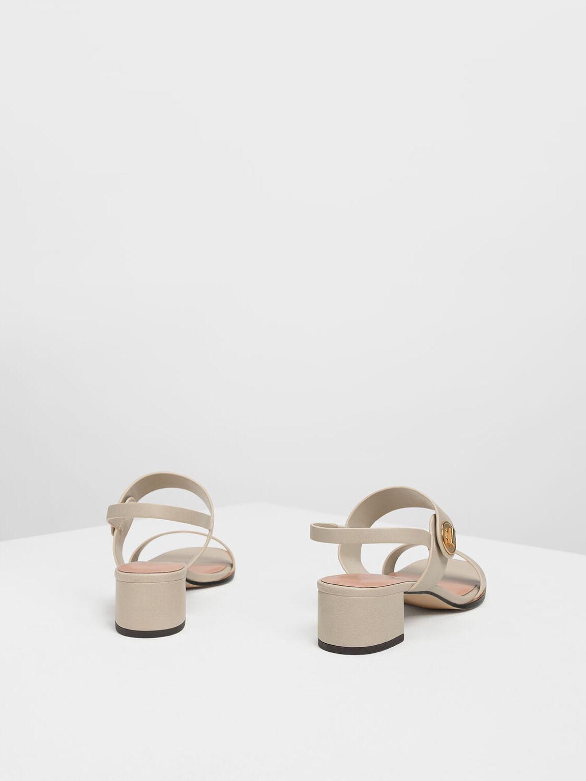 Open Toe Midi Block Heels, Chalk, hi-res