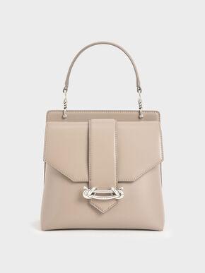 Metallic Accent Top Handle Bag, Sand, hi-res