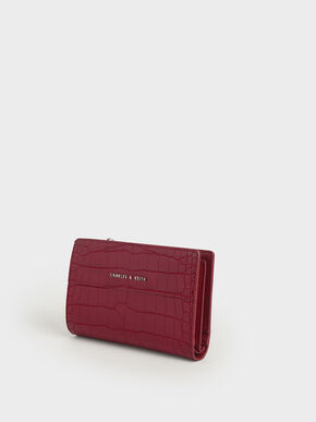 Croc-Effect Snap Button Wallet, Berry, hi-res