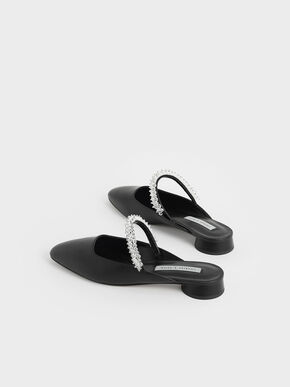 Embellished Strap Mules, Black, hi-res