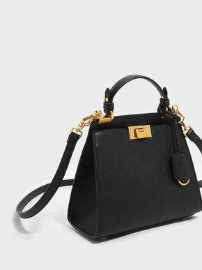 Metallic Push-Lock Trapeze Handbag, Black, hi-res