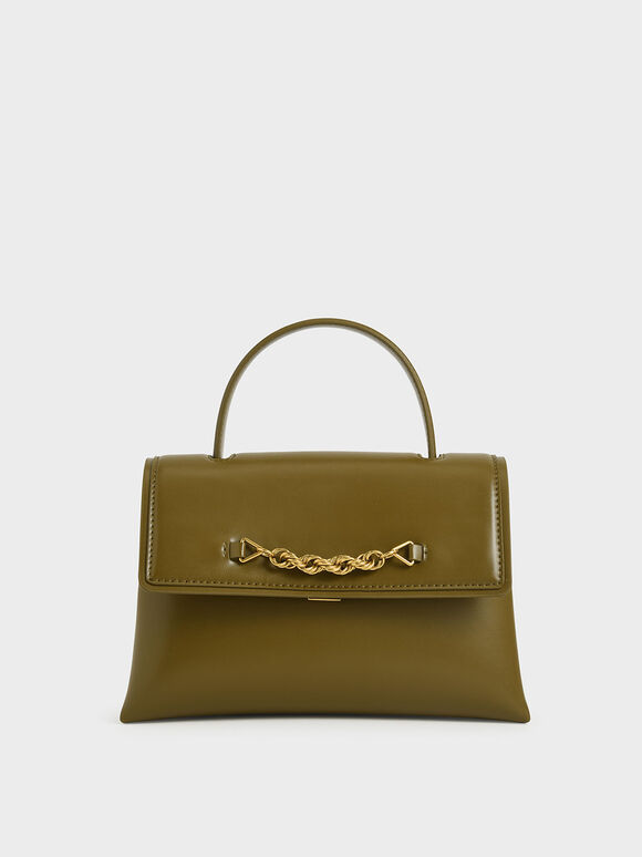 Chain-Embellished Trapeze Top Handle Bag, Olive, hi-res