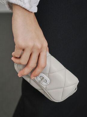 Padded Double Pocket Shoulder Bag, Grey, hi-res