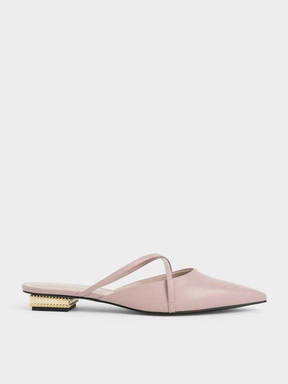Pointed Toe Cross Strap Mules, Light Pink, hi-res