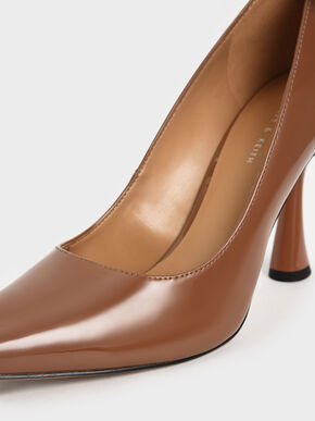 Patent Spool Heel Pointed Toe Pumps, Cognac, hi-res