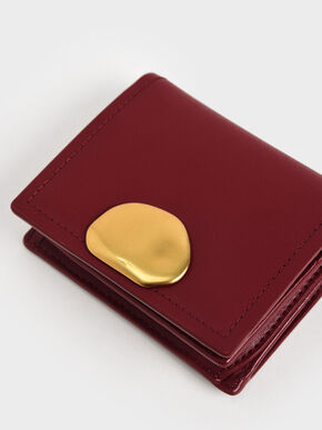 Metallic Accent Snap Button Card Holder, Red, hi-res