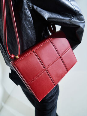 Textured Panelled Shoulder Bag, Red, hi-res
