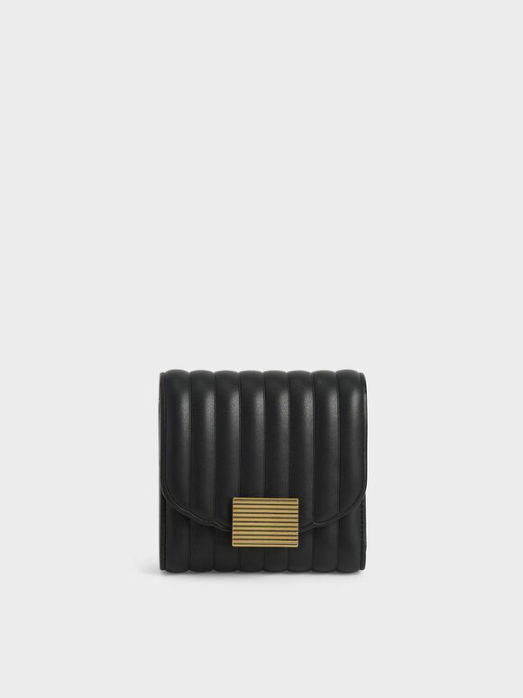 Panelled Short Wallet, Black, hi-res