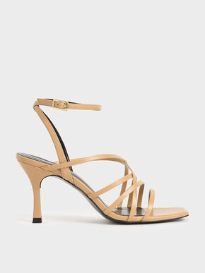 Strappy Heeled Sandals, Beige, hi-res