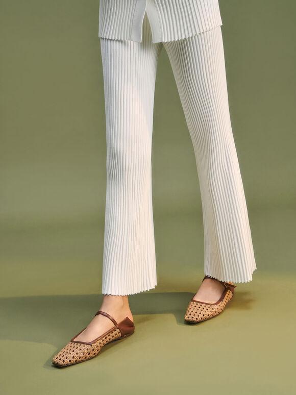 Weave Detail Ballerinas, Brown, hi-res