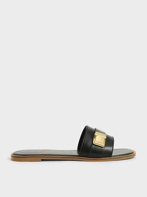 Buckle Detail Slide Sandals, Black, hi-res