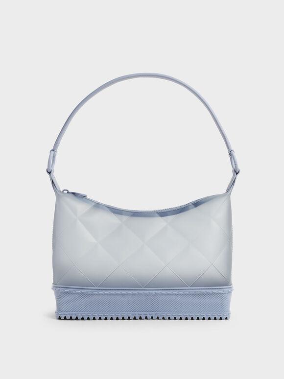 Graphic Handle Quilted Shoulder Bag, Light Blue, hi-res