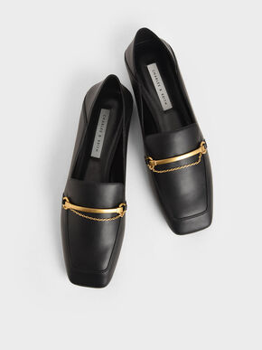 Metallic Accent Loafers, Black, hi-res