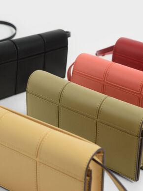 Panelled Long Wallet, Red, hi-res