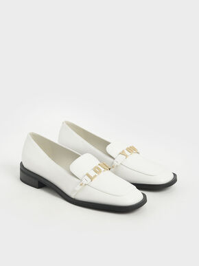 Love You' Loafer Flats, White, hi-res