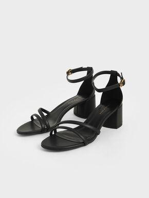 Ankle Strap Sandals, Black, hi-res