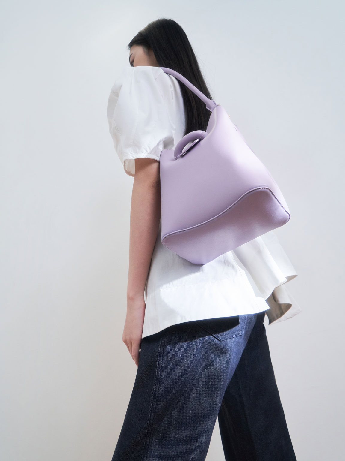 Chain Handle Bucket Bag, Lilac, hi-res