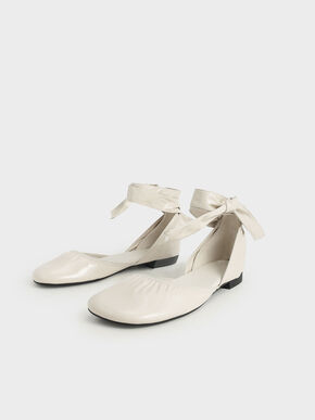 Patent Tie-Around D'Orsay Flats, Cream, hi-res