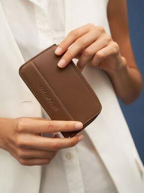 Top Zip Card Holder, Chocolate, hi-res