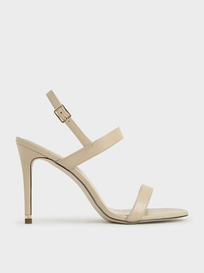 Ankle Strap Stiletto Sandals, Beige, hi-res