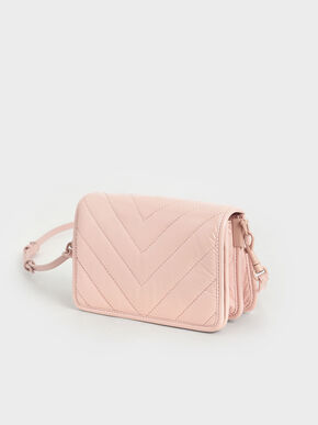 Quilted Patent Crossbody Bag, Nude, hi-res
