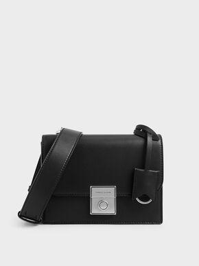 Boxy Push Lock Crossbody Bag, Black, hi-res
