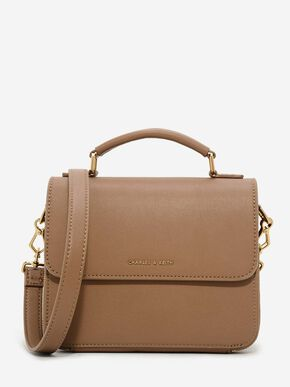 Front Flap Sling Bag, Brown, hi-res
