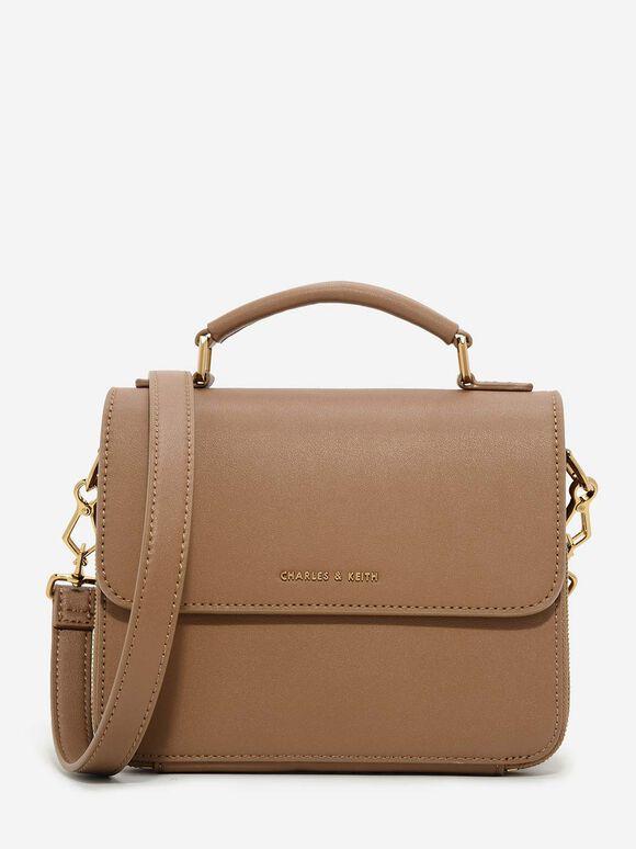 Front Flap Sling Bag, Brown, hi-res