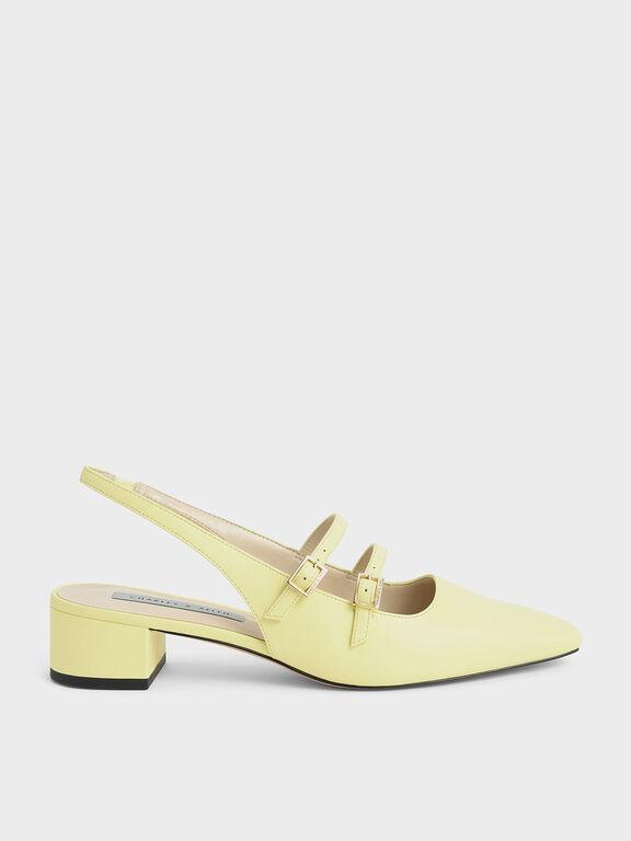 Slingback Mary Janes, Yellow, hi-res